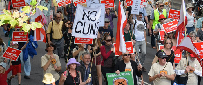 Rally against hunting in NSW national parks, Sydney, 18 April 2013. Photo: Mark Riboldi